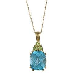 Sofia 14k Blue Topaz and Peridot Necklace