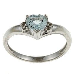 Sofia 14k White Gold Aquamarine and Diamond Accent Ring (J-K, I1-I2)