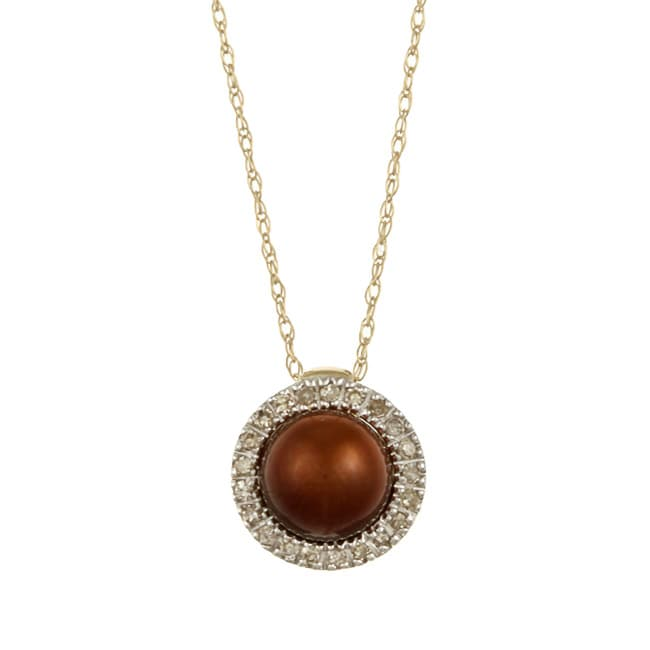 10k Brown Pearl and 1/10ct TDW Diamond Necklace (K-L, I1-I2)