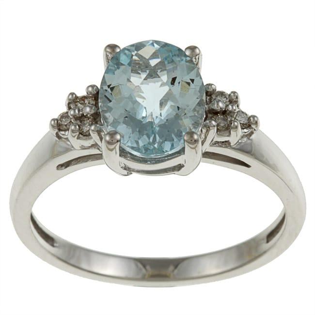 Sofia 14k White Gold Aquamarine and Diamond Accent Ring (K-L, I1-I2)+