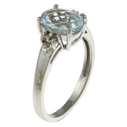 Sofia 14k White Gold Aquamarine and Diamond Accent Ring (K-L, I1-I2)+ - Thumbnail 1