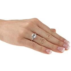 Sofia 14k White Gold Aquamarine and Diamond Accent Ring (K-L, I1-I2)+ - Thumbnail 2