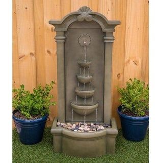 Apollo 44 Inch Height Mossy Green Lighted Outdoor Floor Fountain