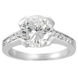 Journee Collection Silvertone Pave-set Round-cut Cubic Zirconia Ring