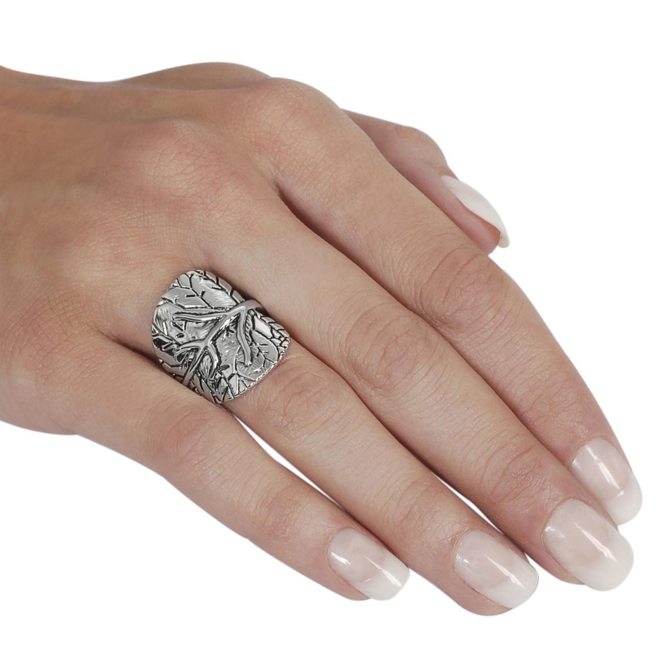 Silvertone Tree Design Ring - Thumbnail 2