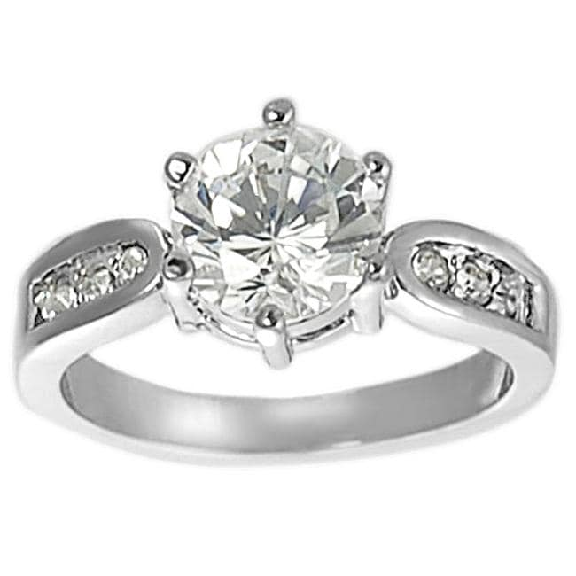Journee Collection Silvertone Round-cut Cubic Zirconia Ring