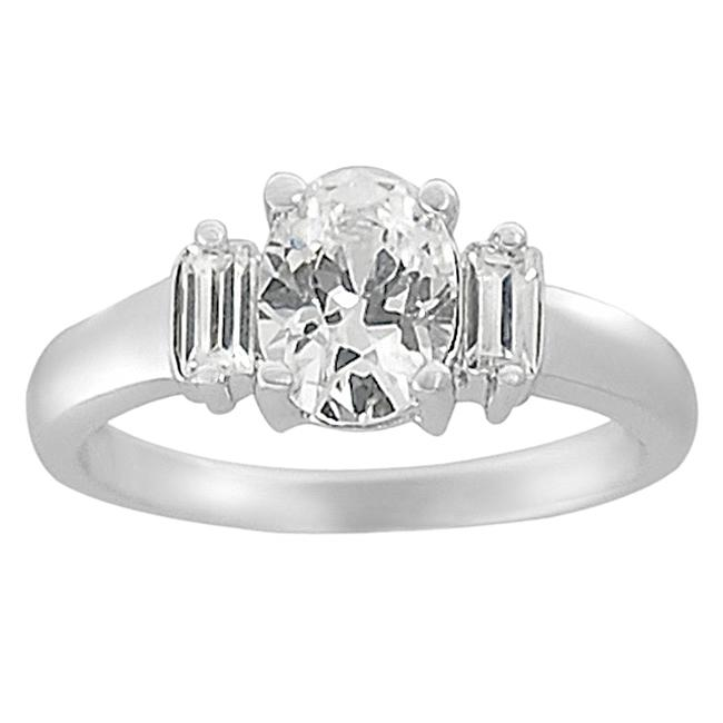 Journee Collection Silvertone Oval and Baguette CZ Bridal Engagement Ring