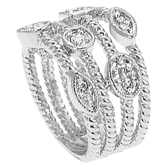Journee Collection Silvertone Pave-set CZ Four-strand Twist Ring