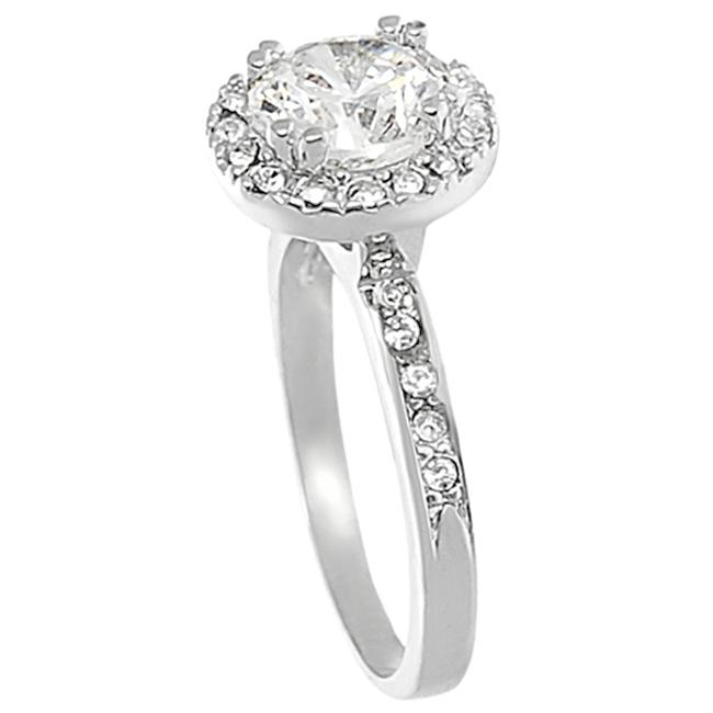 Journee Collection Silvertone Pave-set Round-cut CZ Ring - Thumbnail 1