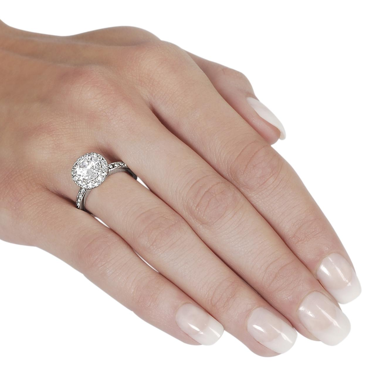 Journee Collection Silvertone Pave-set Round-cut CZ Ring - Thumbnail 2