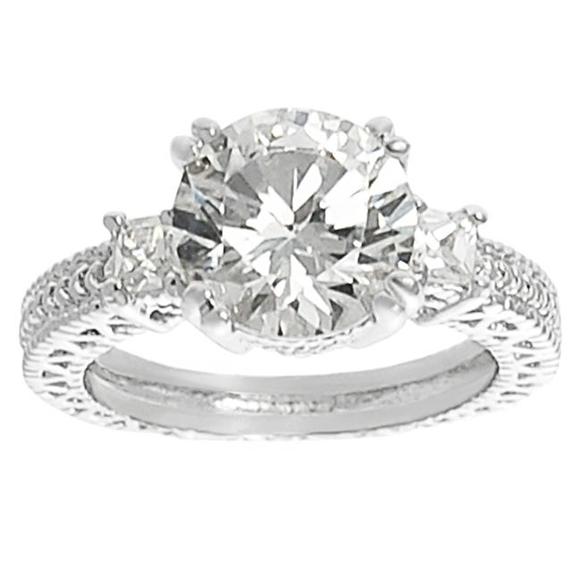 Journee Collection Silvertone Brass Round CZ Bridal and Engagement Ring