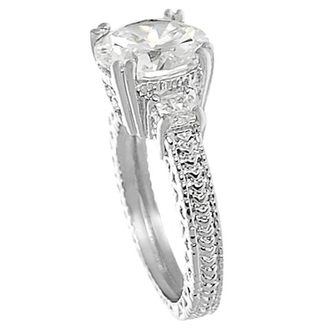 Journee Collection Silvertone Brass Round CZ Bridal and Engagement Ring - Thumbnail 1
