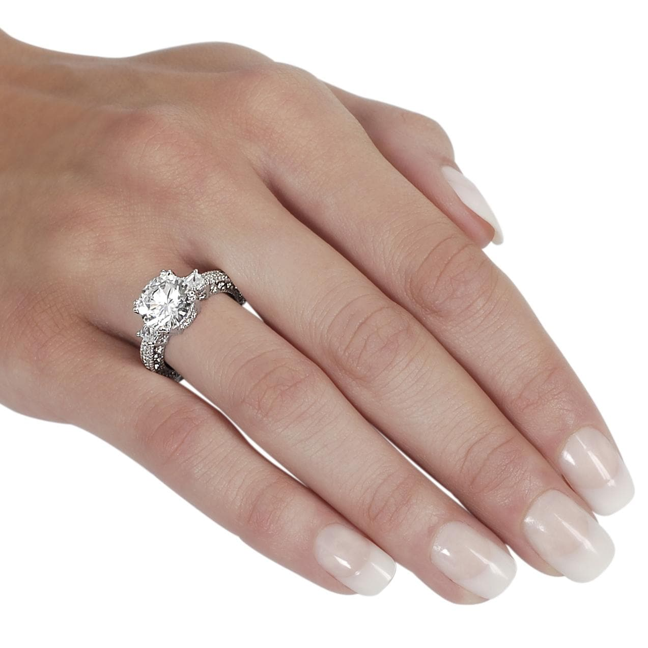 Journee Collection Silvertone Brass Round CZ Bridal and Engagement Ring - Thumbnail 2