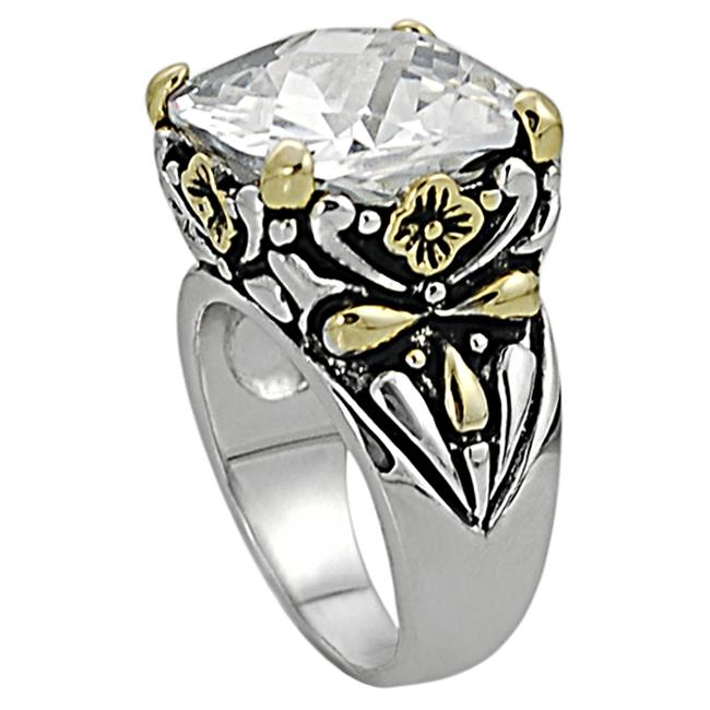 Journee Collection Silvertone and Goldtone Cushion-cut CZ Floral Ring