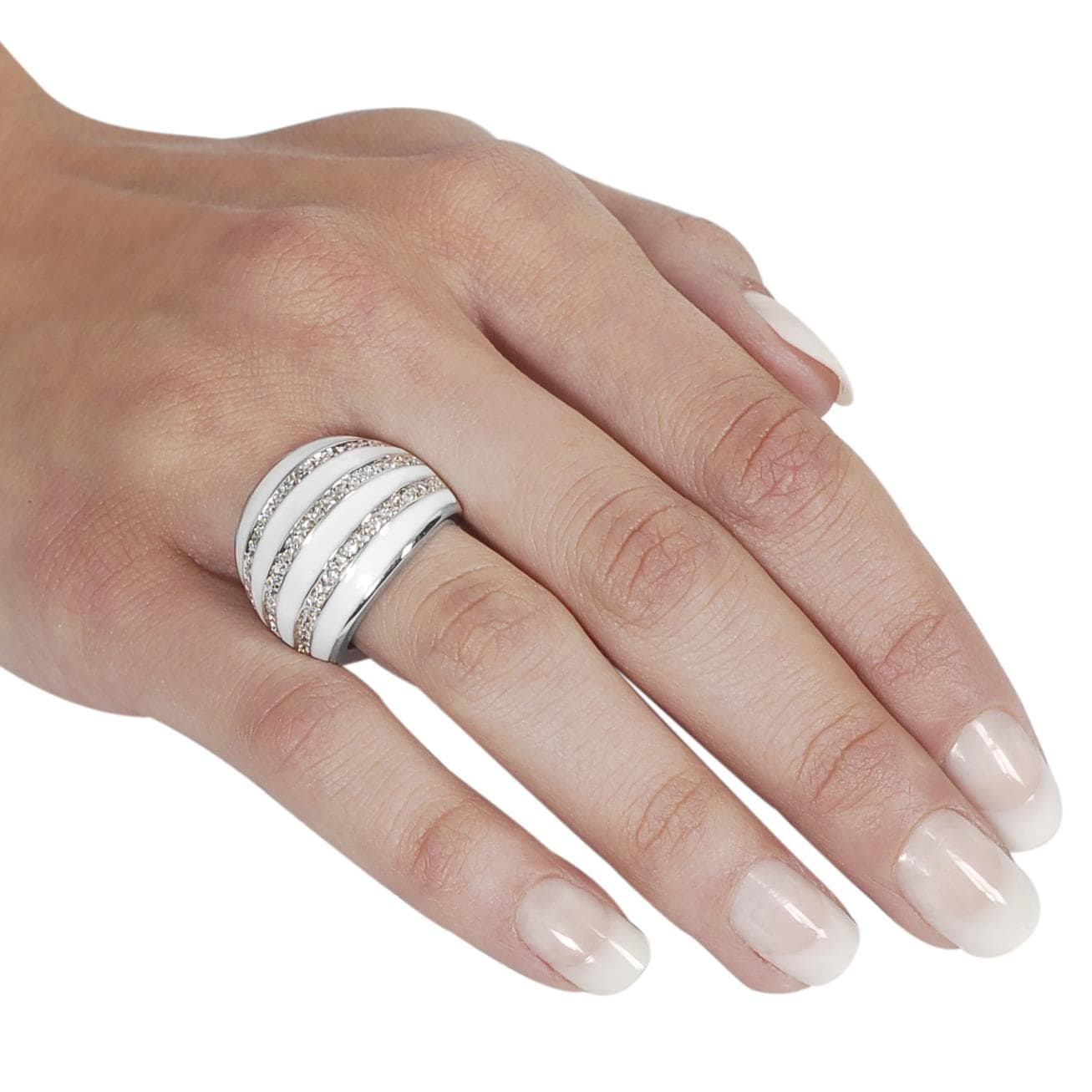 Journee Collection Silvertone Pave-set CZ White Epoxy Stripe Dome Ring