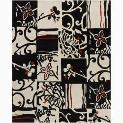 Artist's Loom Hand-tufted Transitional Floral Wool Rug (6'x9') - 6' x 9' - Thumbnail 0