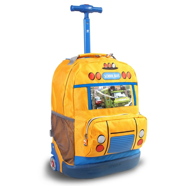 J World 'School Bus' 16-inch Photo Frame Rolling Kids Backpack
