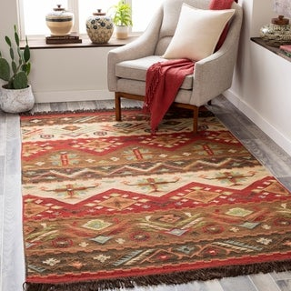 Hand-woven Red/Tan Southwestern Aztec Louise Wool Flatweave Area Rug - 5' x 8'