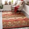 Hand-woven Red/Tan Southwestern Aztec Louise Wool Flatweave Rug (5' x 8')