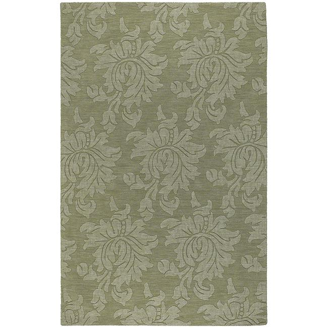 Hand-crafted Solid Green Damask Reagan Wool Rug (5' x 8')