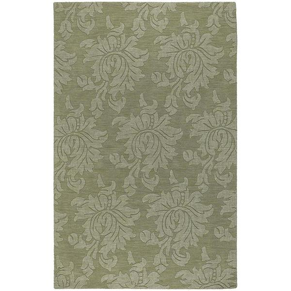 Hand-crafted Solid Green Damask Reagan Wool Area Rug - 5' x 8'