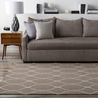 Hand-woven Grey Moroccan Trellis Arthur Flatweave Wool Area Rug - 5' x 8'