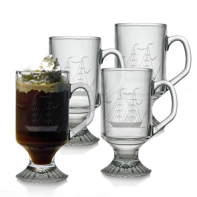 Clipper Ship Handcut Footed Mugs (Set of 4)