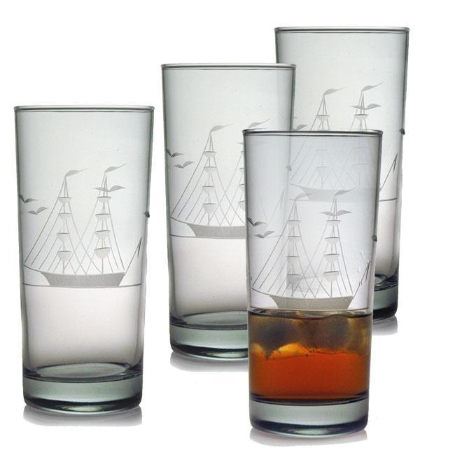 Susquehanna Glass Clipper Ship Hiball Glasses (Set of 4),...