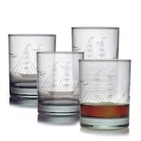 Clipper Ship Handcut Rocks Glasses (Set of 4)