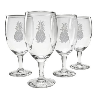 Pineapple Collection Footed Iced Tea Goblets (Set of 4)