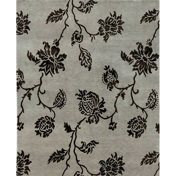 Hand-knotted Accra Silver Wool Rug (5'6 x 8'6)