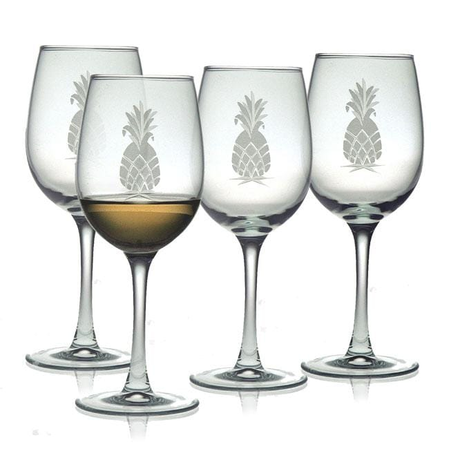 Pineapple Collection White Wine Glasses Set Of 4 Free