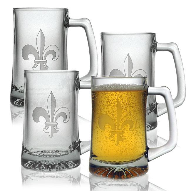 Fleur De Lis Beer Mugs (Set of 4)