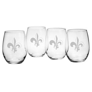 Fleur De Lis Stemless Wine Glasses (Set of 4)