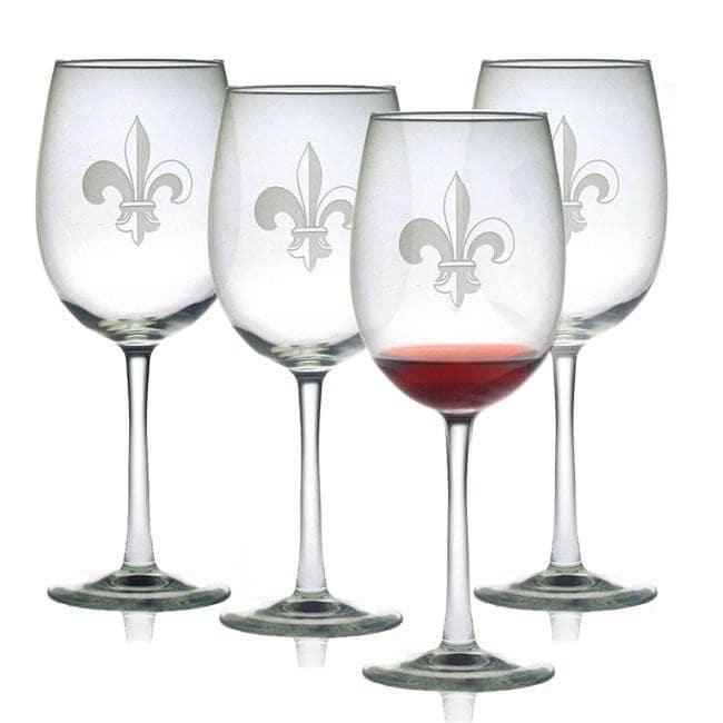 Fleur De Lis Wine Glasses (Set of 4)