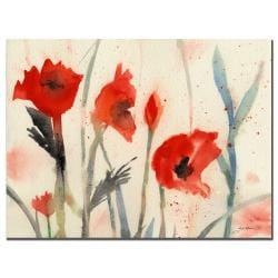 Sheila Golden 'Red Poppy Light' Canvas Art
