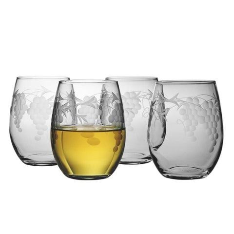 Sonoma Handcut Stemless Wine Glasses (Set of 4)