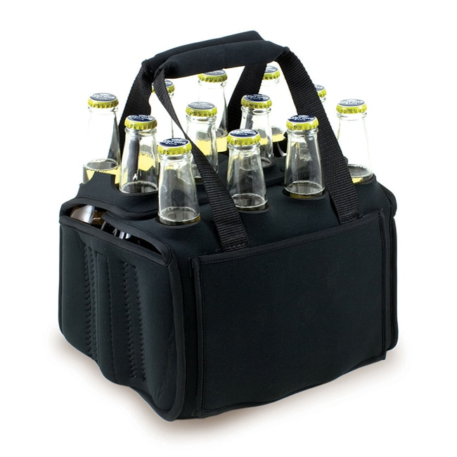 Black Insulated 12-Beverage Neoprene Tote