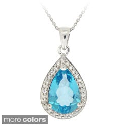 Glitzy Rocks Silver Blue Topaz and CZ Teardrop Necklace