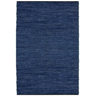 Hand-woven Blue Leather Rug (4' x 6') - 4' x 6'