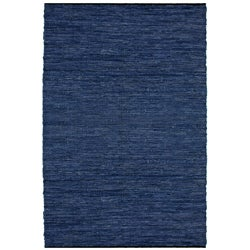 Hand-woven Blue Leather Rug (4' x 6')
