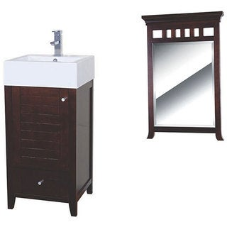 Fine Fixtures Mezquite Wood Walnut/ White Bathroom Vanity and Mirror