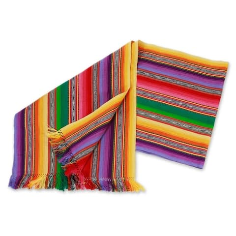 "Maya Multicolor Furrows Handwoven by Woman Artisan Rows of Cotton Table Runner - 14.25"" x 61"""