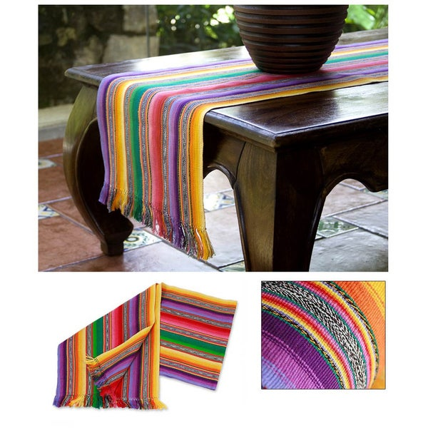 Maya Multicolor Furrows Handwoven by Woman Artisan Rows of Red Orange Yellow Blue Green 100% Cotton Table Runner (Guatemala)