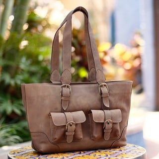 Honey Sierra Exterior Pockets Lined Everyday Use or Travel Rich Golden Brown Weathered Leather Womens Shoulder Tote Bag (Mexico)
