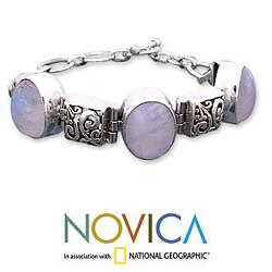 Floral Legends 925 Sterling Silver Special Occasion or Everyday Adjustable Oval Rainbow Moonstone Womens Bracelet (India)