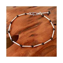 Sterling Silver 'Legendary Muse' Onyx Anklet (India)