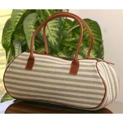 Cotton 'Jade Parallels' Medium Baguette Handbag (Guatemala)