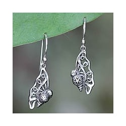Sterling Silver 'Baby Butterfly' Dangle Earrings (Indonesia)