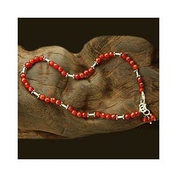 Handmade Sterling Silver 'Brilliant Glow' Carnelian Anklet (India)